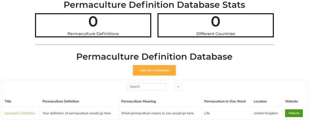 Screenshot of the Permaculture Definition Database (PDD)