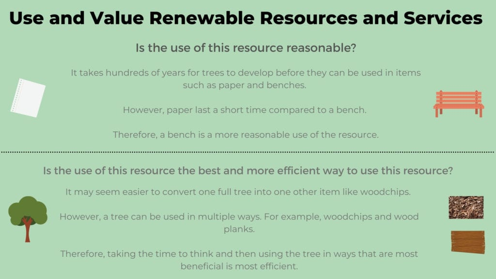 Infographic of Permaculture Principle 5 - Use and Value Renewable Resources and Services. One of the 12 Principles of Permaculture